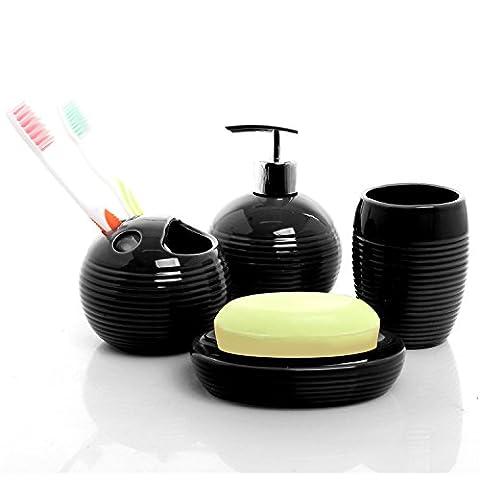 4PC rond Ensemble d'accessoires de bain en céramique noire W/Distributeur de savon, support pour brosses à dents, Gobelet, Porte-savon