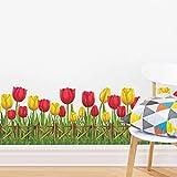 Nueva Moda Tulipanes Flor Verde Gras Zócalo Pegatinas De Pared Para Sala De Estar Diy 3D Etiqueta De La Pared Decoración Para El Hogar