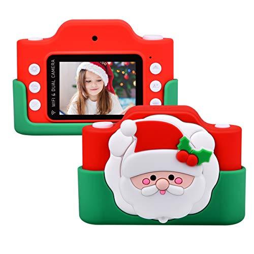 Miavogo WiFi Kinderkamera mit Dual-Objektiv, Fotokamera für Kinder 8 Megapixel 2 Zoll Display HD 1080p Niedlich Digitalkamera für Junge Mädchen (Weihnachtsmann)