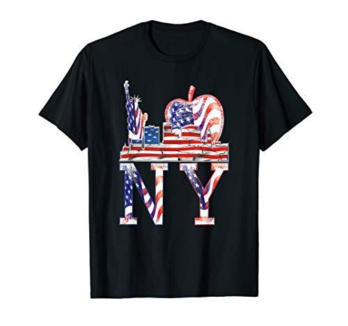 I love NY New York, USA Flag on Big Apple and Skyline T-Shirt