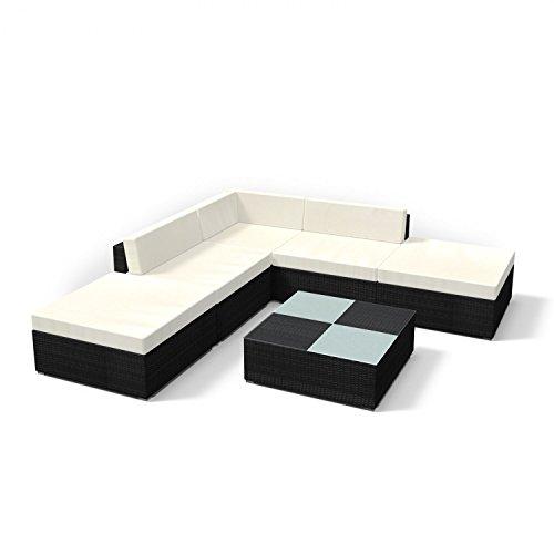 Rattan Gartenmöbel Lounge Set - Gemütliche 6-teilige Sitzgruppe für Balkon, Polyrattan Gartengarnitur inkl. Tisch und Hocker (Schwarz)