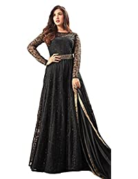 Viha Women's Heavy Net Embroidered Black Semi-stitched Anarkali Salwar Suit