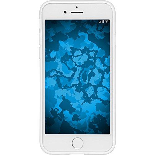 PhoneNatic Case für Apple iPhone 7 Hülle Silikon schwarz X-Style Cover iPhone 7 Tasche + 2 Schutzfolien Weiß