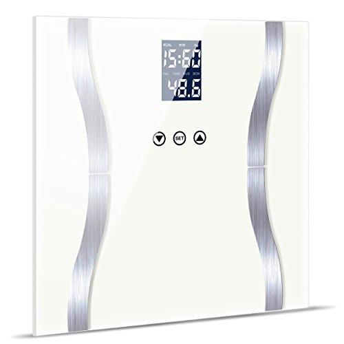 Fypo Bilancia Pesapersone Digitale per Grasso Corporeo, Bilance pesapersona digitali, Composizione corporea intelligente digitale,Misure Peso BMI Corpo Grasso Acqua Muscoli e massa ossea