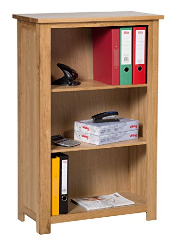Waverly Oak Small Bookcase with Adjustable Shelves in Light Oak Finish & Ample Storage Space 116cm - Home Office Furniture Designed to Take A4 Folders - Ready Assembled Low Wooden Bookshelves