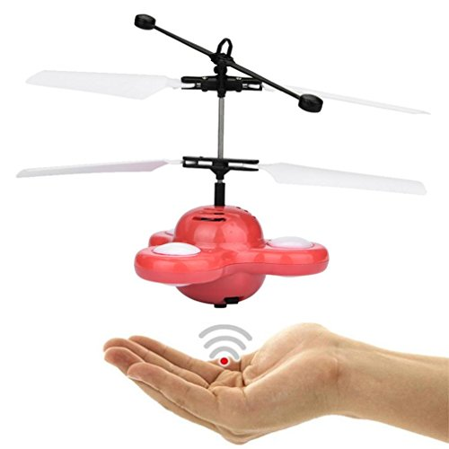 Zarupeng Mano Flying UFO Ball LED Mini Suspensión de inducción RC Avión Flying Toy Drone (Rojo)