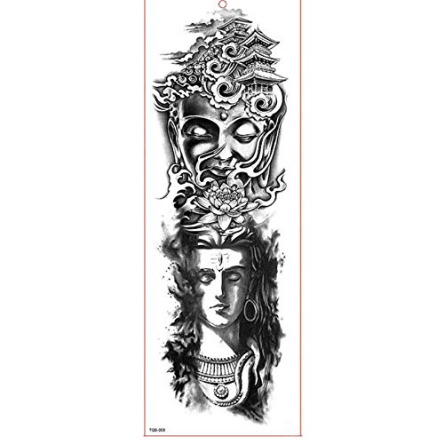 Der Kostüm Mädchen Drachen Mit Tattoo - yyyDL Temporäre Tattoo-Aufkleber Große Arm Ärmel Tattoo Wasserdicht Temporäre Tätowierung Aufkleber Rose Drache Volle Blume Tattoo Body Art Tattoo Mädchen 17 * 48 cm 2 stücke