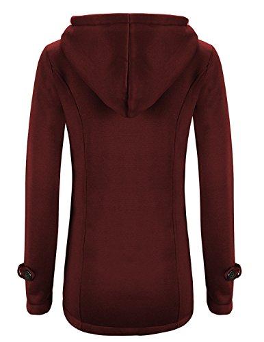 M-Queen Donna Giacca Cappotto con Cappuccio Giacche Abbottonato Casuale Fleece Hoodie Parka Outerwear rosso - lana sottile