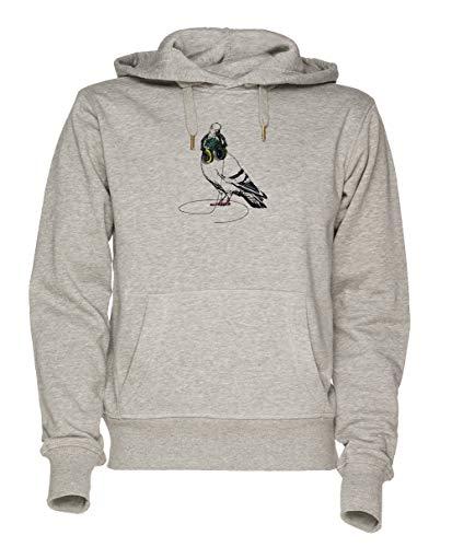 Jergley Techno Taube Unisex Grau Sweatshirt Kapuzenpullover Herren Damen Größe XXL | Hoodie for Men and Women Size XXL