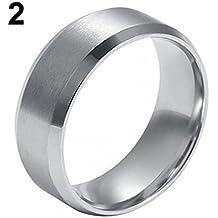 8mm donna uomo moda titanio acciaio lucido Band Ring wedding Jewelry–argento US 12Amesii