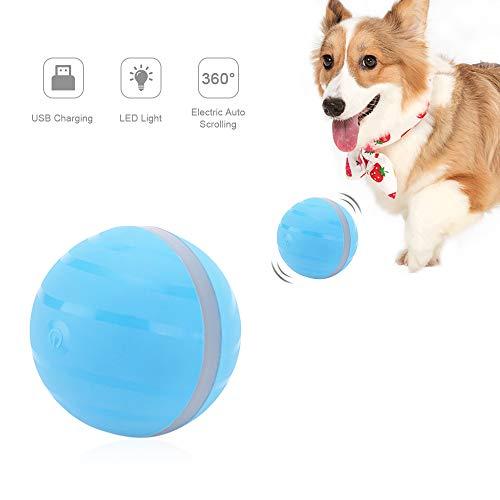Automatischer Rolling Ball für Katzen und Hunde, USB-aufladbar, Smart-Elektrischer Interaktive Spielzeug Bälle mit LED-Licht, Bunte Flash, IP67 Wasserdicht Waschbar Haustierball