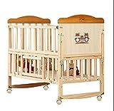 TYUE Culla-Legno massello Senza dipingere per Bambini Letto Cucitura Bed Multi-Funzionale Baby Bed Slitta Cotbed Bambino Letto Naturale 0-6 Anni 105 * 61 * 95cm