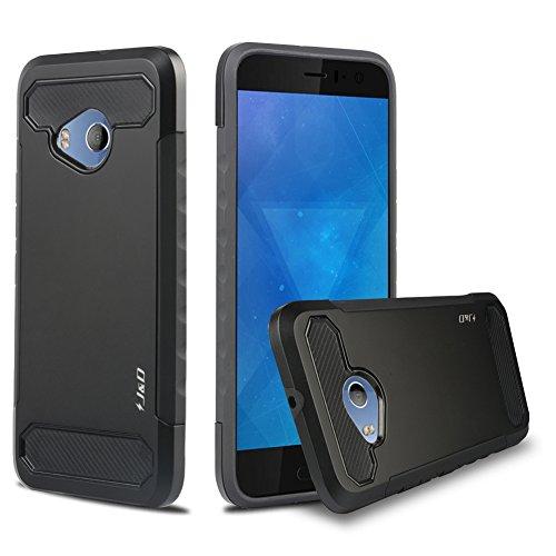 J&D Kompatibel für HTC U11 Life Hülle, [Carbon Fiber] [Doppelschicht] [Heavy-Duty-Schutz] Hybrid Stoßfest Schutzhülle für HTC U11 Life - Schwarz