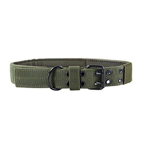 OneTigris verstellbare Hundehalsband weiches Hundehalsband für Hunde (L, Armee Grün) -