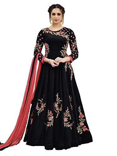 VARAYU Women's Black Georgette Party Wear Embroidered Semi Stitched Anarkali Suit(717DJ33095A)