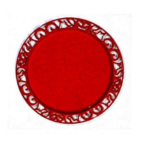 4 sous-assiette ronde rouge carmin nacré 30 cm plastique jetable