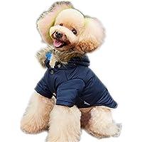 pet cappotto hoodies inverno morbido accogliente decorazione tasca due cani piedi vestiti piumino , blue , m