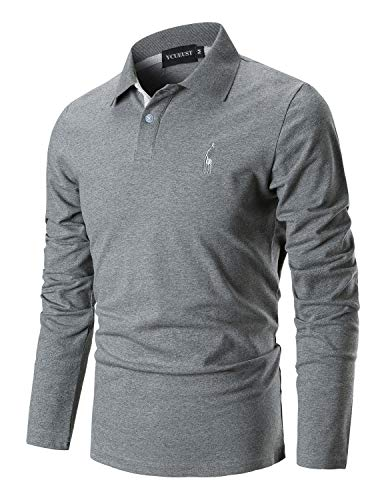 YCUEUST Hommes Cotton Basic Manche Longues Casual Polo Tennis Golf Poloshirt Gris Large
