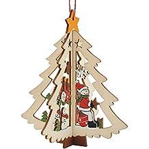 WangWtry Árbol de Navidad Colgantes Decoración de Madera Árbol de Navidad en Forma de Campana Colgante