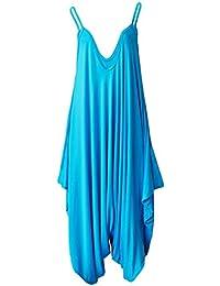 b0d9bc5984 Papaval Women Ladies V-Neck Summer Beach Harem Plain Jumpsuit Playsuit Top  Dress