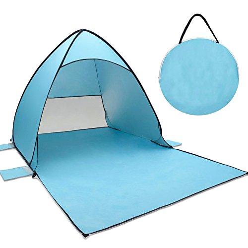 Pop Up Strandmuschel, Tecare Zelt mit UV-Schutz 50+ geringem Gewicht für 2-3 Personen. Einfach aufzustellen und klein zusammen zu legen. Als Strandmuschel, Sonnenschutz, beim Wandern, Camping und für den Garten