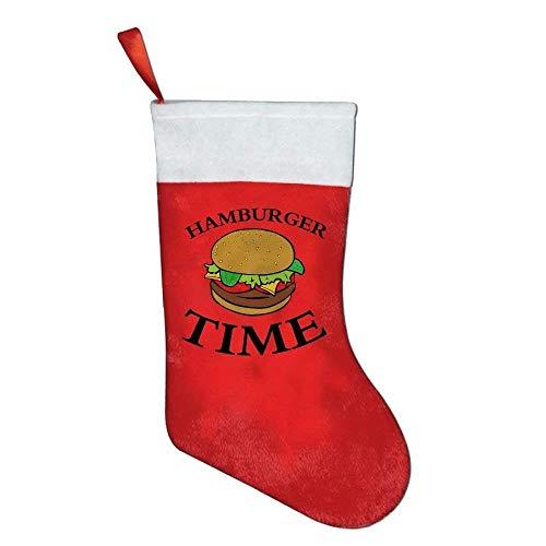 Kaixin J Christmas Stockings Classic Cartoon Hamburger Time Holiday Santa Claus Merry Christmas