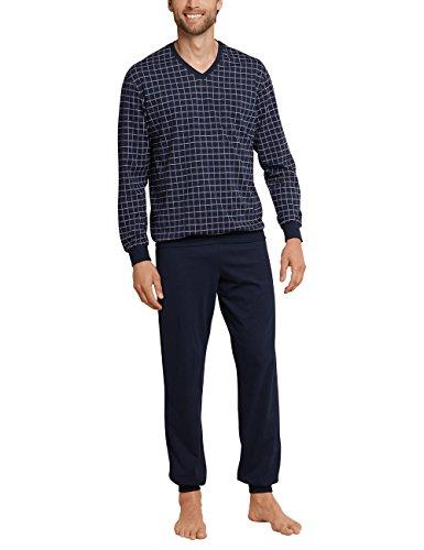 Schiesser Herren Schlafanzug lang mit Bündchen Zweiteiliger, Blau (Dunkelblau 804), Large (Herstellergröße: 052)