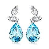 CINDLA Pendientes Mujer de Aro Azules Hechas con Cristales de Swarovski Pendientes Mujer Joyas para Mujer