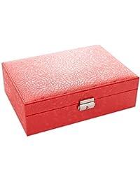 Caja De Almacenamiento PU Caja De Joyería Creativa Portátil Espejo De Corazón En Forma De Oreja