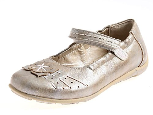 Perche No elegante Mädchenballerinas Lederschuhe Ballerinas Schuhe Riemchen Taupe - metallic