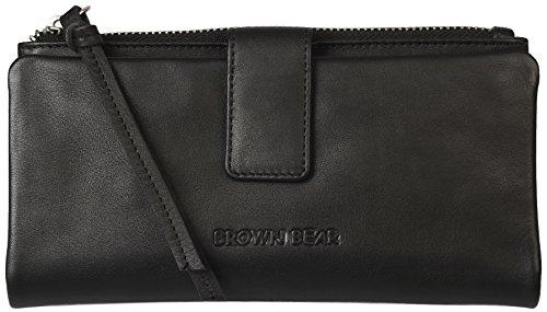 Brown Bear Damen Geldbörse Leder Schwarz hochwertig Frauen Geldbeutel Portemonnaie Portmonee Portmonaise