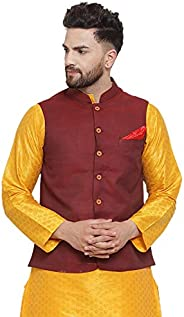 NEUDIS by Dhrohar Textured Cotton Nehru Jacket/Waistcoat For Men - Maroon