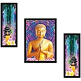 SAF DIWALI GIFT UV Textured Buddha Print Framed Painting Set Of 3 For Home Decoration – Size 35 X 2 X 50 Cm