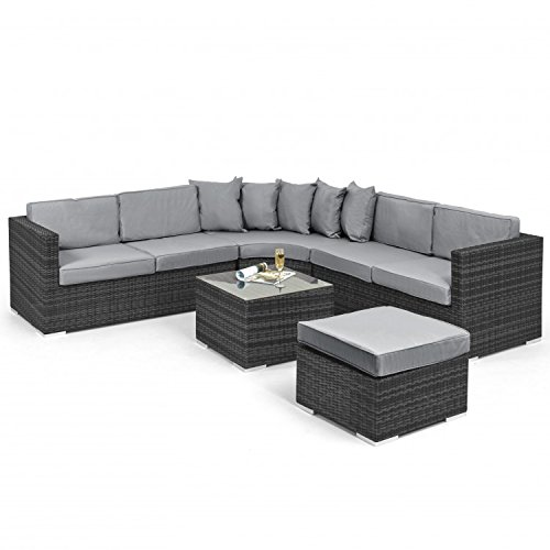 Barcelona Rattan Garden Furniture Corner Sofa Group: San Diego Rattan Garden Furniture Barcelona Grey Corner
