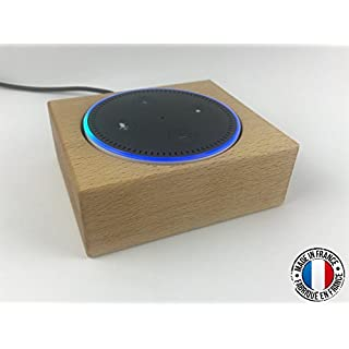 Wooden table stand for Amazon Echo Dot Alexa. Decorative protective case in Beech wood. French manufacture.