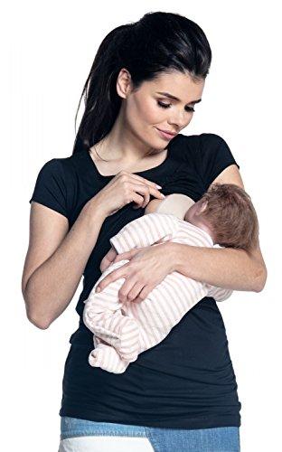Zeta Ville - T-shirt de grossesse couches allaitement buste froncé - femme 136c Noir