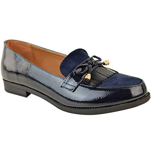 Fashion thirsty heelberry donna grande taglie forti tacco basso scarpe piatte mocassini eleganti da lavoro scuola taglia - blu navy verniciata/camoscio sintetico inserto, 42