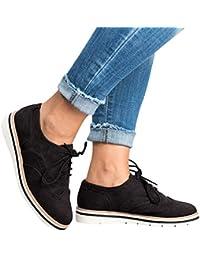 ❤️ Zapatos con Cordones, Botas de Mujer, Punta Redonda de Color Sólido, Tobillo, Piso, Casual, Zapatos de Encaje, Zapatos Deportivos, Otoño Invierno Absolute
