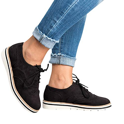 Dtuta Baskets Flock Pour Femme, Solid Toe Ronde En Daim Couleur Unie Pour Femmes Flatties Lace Up Shoes