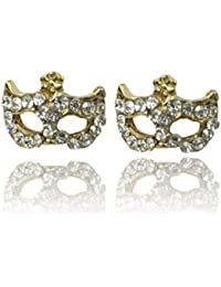 Mädchen Crystal Masquerade Ohrring Ring Halskette Fox Maske Beauty Party Set AB