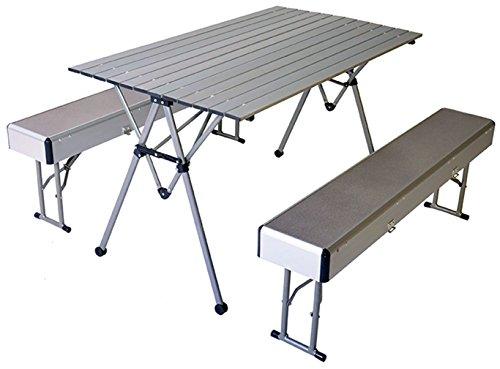 connex Warenhandel Camping - Klapptisch mit 2 Klappbänken aus Aluminium (klappbar) Tisch + Bänke Komplettset
