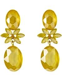 TEMPUS FUGIT. Regalo para Mujer. Pendientes Largos de Fiesta. Diseño de Moda. Chapados en Oro, con cristales de colores brillantes, Incluye…