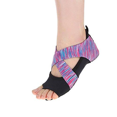 DOACT 1 Par Zapatos Antideslizantes de Yoga para Mujeres con Medias Medias para Ballet, Barra y Acolchados, púrpura(L(39-40))