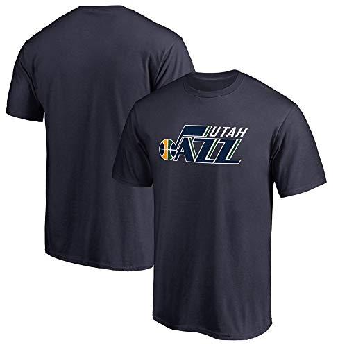 CHUXUEING NBA Utah Jazz Jersey Sommer Team Match Uniform Brief Drucken Lässig Kurzes T-Shirt Geeignet Für Männer Und Frauen Kurzarm Blue-XXXL (Logo Utah Jazz)