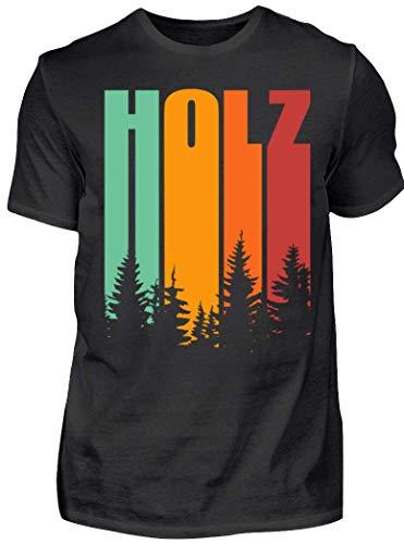 HOLZBRÜDER® Holz Retro Shirt perfekt für die Arbeit mit der Kettensäge im Wald (XL, Schwarz)