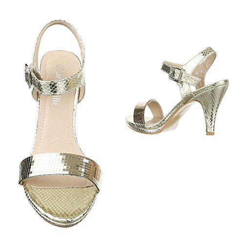 High Heel Sandaletten Damenschuhe Plateau Pfennig-/Stilettoabsatz High Heels Schnalle Ital-Design Sandalen / Sandaletten Gold