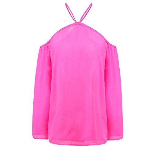 Xinan Damen Unregelmäßige Strapless Chiffon Tops Hot Pink