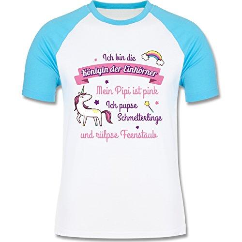 Statement Shirts - Königin der Einhörner - zweifarbiges Baseballshirt für Männer  Weiß/Türkis