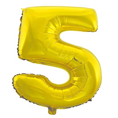 Cotigo-Globo Balloon Foil Brillante número Gigante cumpleaños de helio 100cm dorado 5