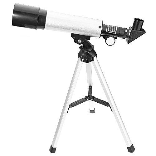 Telescopio Astronómico Telescopio Terrestre Refractor Monocular con Trípode de Aleación de Aluminio Diámetro Mayor Desmontable Portable Telescopio Jugador para Niños